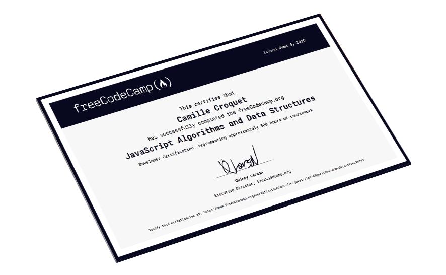 Certification Javascript - Algorithmie et structure de données